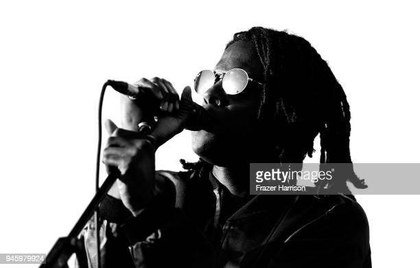 Daniel Caesar performs onstage during the 2018 Coachella Valley Music And Arts Festival at the Empire Polo Field on April 13 2018 in Indio California