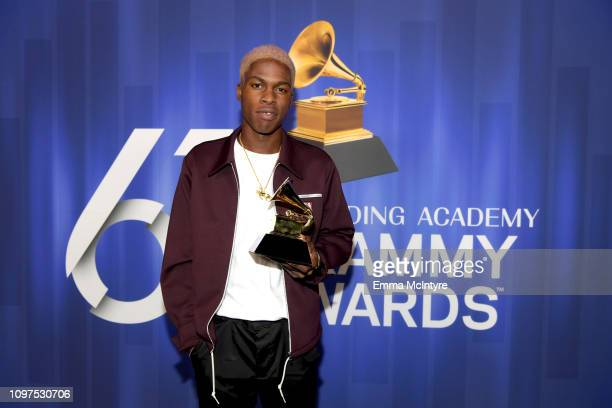 Daniel Caesar poses with his award at the 61st Annual GRAMMY Awards Premiere Ceremony at Microsoft Theater on February 10 2019 in Los Angeles...