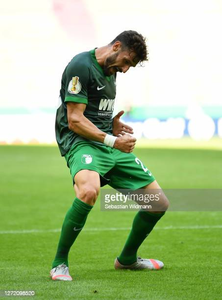 Daniel Caligiuri of Augsburg celebrates after scoring his team' second goal during the DFB Cup first round match between MTV Eintracht Celle and FC...