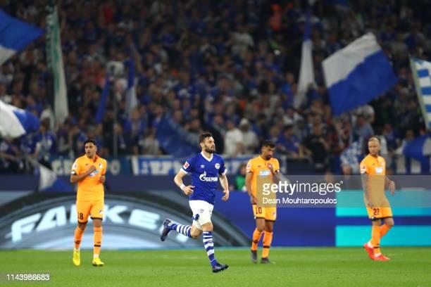 Daniel Caligiuri of FC Schalke 04 celebrates after scoring his sides first goal during the Bundesliga match between FC Schalke 04 and TSG 1899...