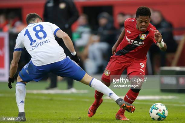 Daniel Caligiuri of Schalke 04 Leon Bailey of Bayer Leverkusen during the German Bundesliga match between Bayer Leverkusen v Schalke 04 at the...