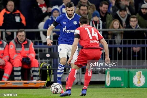 Daniel Caligiuri of Schalke 04 Markus Suttner of Fortuna Dusseldorf during the German DFB Pokal match between Schalke 04 v Fortuna Dusseldorf at the...