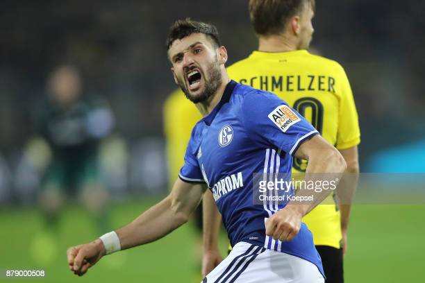 Daniel Caligiuri of Schalke celebrates after he scored a goal to make it 34 during the Bundesliga match between Borussia Dortmund and FC Schalke 04...