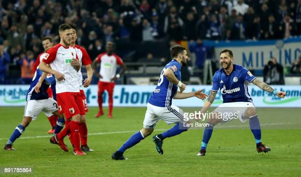 Daniel Caligiuri of Schalke celebrates after he scores the 2nd goal by penalty during the Bundesliga match between FC Schalke 04 and FC Augsburg at...