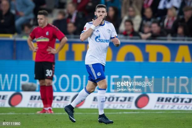 Daniel Caligiuri of Schalke celebrates his team's first goal during the Bundesliga match between SportClub Freiburg and FC Schalke 04 at...