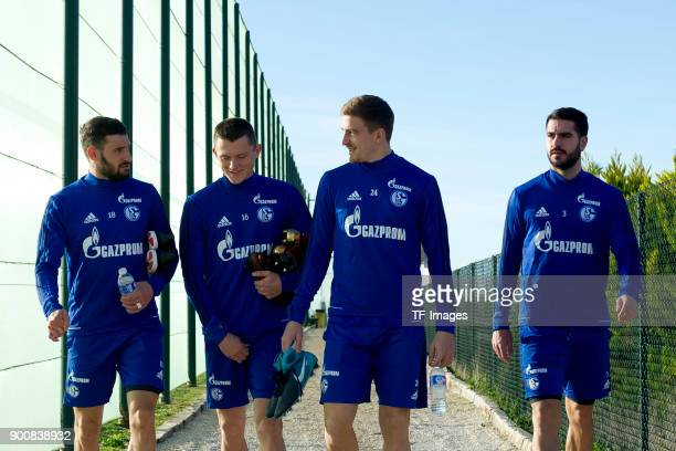 Daniel Caligiuri of Schalke Fabian Reese of Schalke Bastian Oczipka of Schalke and Pablo Insua of Schalke walk during the FC Schalke 04 training camp...