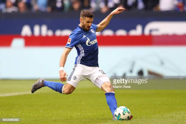 Daniel Caligiuri of Schalke scores a penalty goal to make it 10 during the Bundesliga match between FC Schalke 04 and SportClub Freiburg at...
