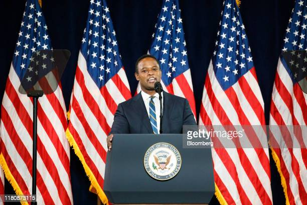 Daniel Cameron Kentucky's attorney generalelect speaks during the 'Black Voices for Trump' launch event with US President Donald Trump not pictured...