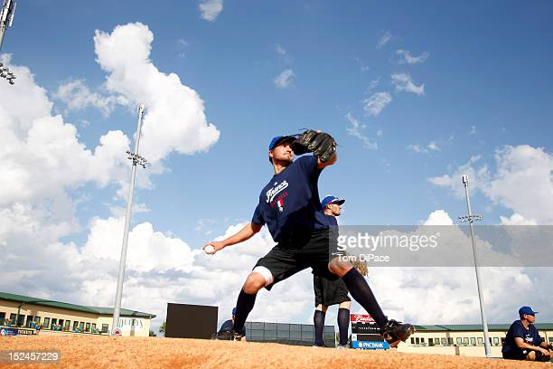 Daniel Camou of Team France is seen practicing during the workout for the World Baseball Classic Qualifier at Roger Dean Stadium on September 18,...