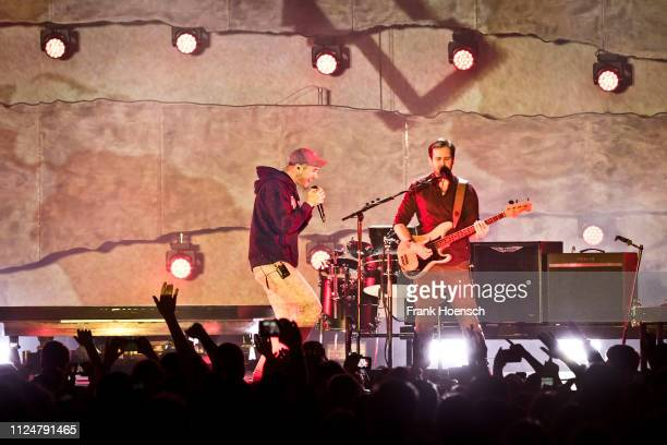 Daniel Campbell Smith and William Farquarson of the British band Bastille perform live on stage during a concert at the verti Music Hall on February...