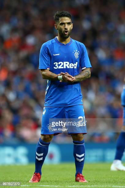 Daniel Candeias of Rangers in action during the UEFA Europa League Qualifying Round match between Rangers and Shkupi at Ibrox Stadium on July 12 2018...