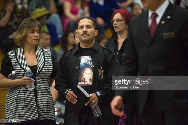 Daniel Cantu, father of Sandra, arrives at a memorial service for his daughter in Tracy, California, on Thursday, April 16, 2009.