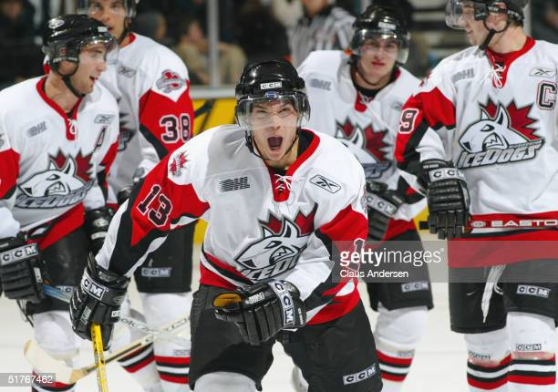Daniel Carcillo of the Mississauga IceDogs celebrates during the Ontario Hockey League game against the London Knights at John Labatt Centre on...
