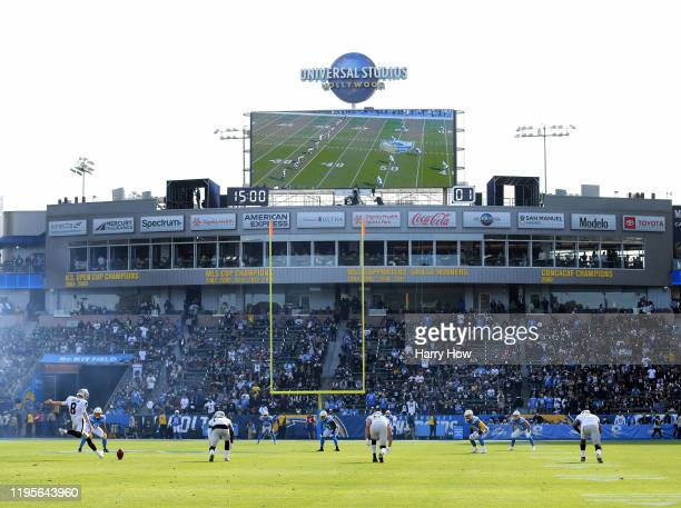 Daniel Carlson of the Oakland Raiders opening kick off against the Los Angeles Chargers at Dignity Health Sports Park on December 22 2019 in Carson...