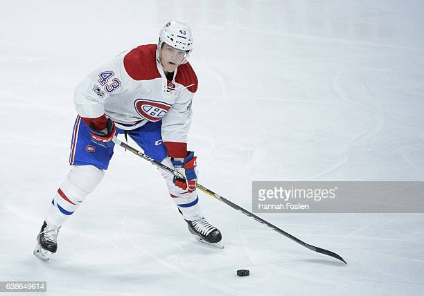 Daniel Carr of the Montreal Canadiens controls the puck against the Minnesota Wild during the third period of the game on January 12 2017 at Xcel...