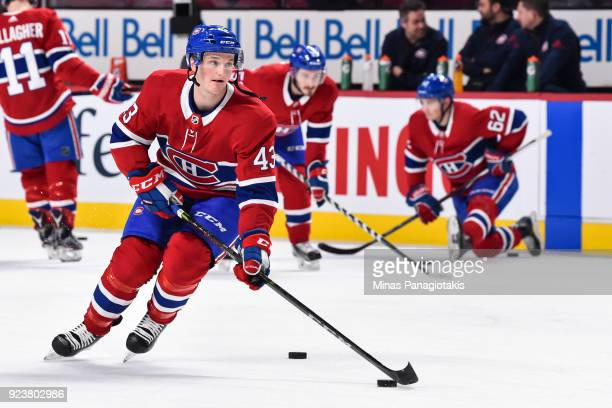 Daniel Carr of the Montreal Canadiens skates the puck during the warmup against the New York Rangers prior to the NHL game at the Bell Centre on...