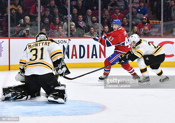 Daniel Carr of the Montreal Canadiens takes a shot on goal Zane McIntyre the Boston Bruins in the NHL game at the Bell Centre on November 8 2016 in...