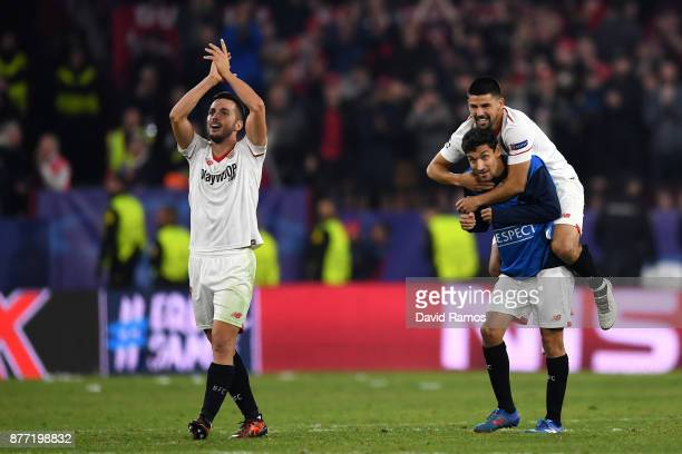 Daniel Carrico of Sevilla celebrates after the UEFA Champions League group E match between Sevilla FC and Liverpool FC at Estadio Ramon Sanchez...