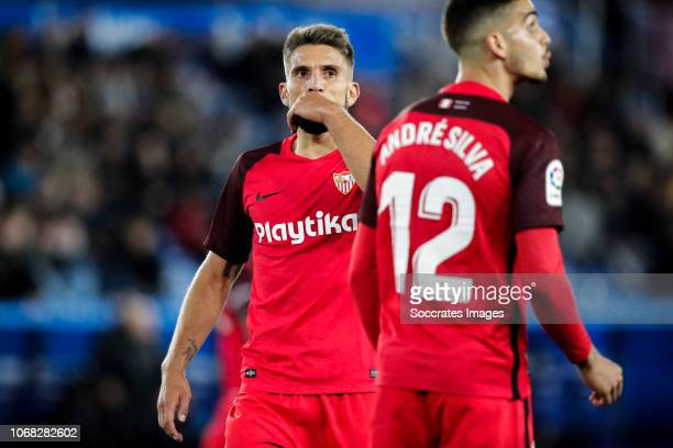 Daniel Carrico of Sevilla FC Andre Silva of Sevilla FC during the La Liga Santander match between Deportivo Alaves v Sevilla at the Estadio de...