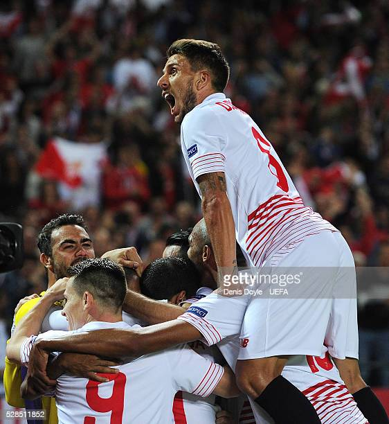 Daniel Carrico of Sevilla FC celebrates after Sevilla scored their 3rd goal during the UEFA Europa League Semi Final second leg match between Sevilla...