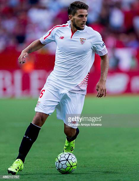 Daniel Carrico of Sevilla FC controls the ball during the La Liga match between Sevilla FC and Club Atletico de Madrid at Estadio Ramon Sanchez...