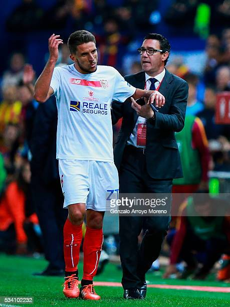 Daniel Carrico of Sevilla FC reacts as he leaves the pitch after seen a red card during the Copa del Rey Final match between FC Barcelona and Sevilla...