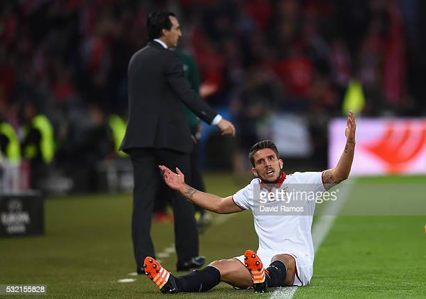 Daniel Carrico of Sevilla reacts during the UEFA Europa League Final match between Liverpool and Sevilla at St JakobPark on May 18 2016 in Basel...