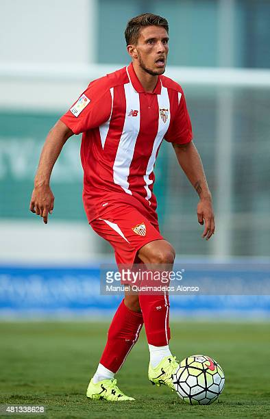 Daniel Carrico of Sevilla runs with the ball during a Pre Season Friendly match between Sevilla and Alcorcon at Pinatar Arena Stadium on July 19 2015...