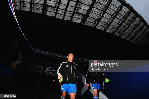 Daniel Carter and Beauden Barrett of the All Blacks arrive for a captain's run at Murrayfield Stadium on November 10 2012 in Edinburgh Scotland