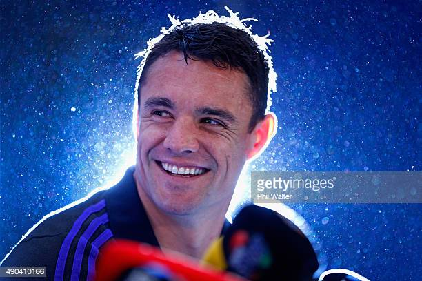 Daniel Carter of the All Blacks speaks during a New Zealand All Blacks media session at the Hilton Hotel on September 28 2015 in Cardiff United...