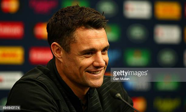 Daniel Carter of the All Blacks speaks to the media prior to the New Zealand All Blacks Captain's Run ahead of the 2015 Rugby World Cup Final against...