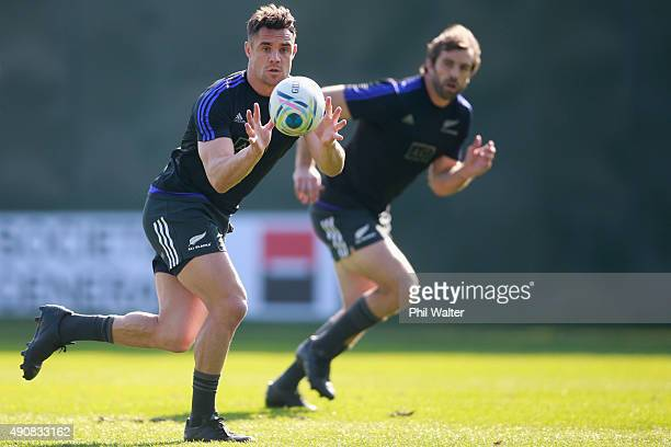 Daniel Carter of the All Blacks takes a pass during a New Zealand All Blacks Captain's Run at Sophia Gardens on October 1 2015 in Cardiff United...