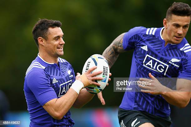 Daniel Carter of the All Blacks with support from Sonny Bill Williams during a New Zealand All Blacks training session at Lensbury on September 16...