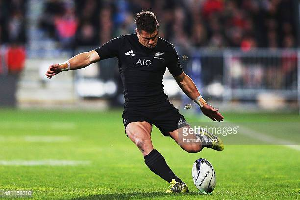 Daniel Carter of the New Zealand All Blacks kicks a conversion during The Rugby Championship match between the New Zealand All Blacks and Argentina...