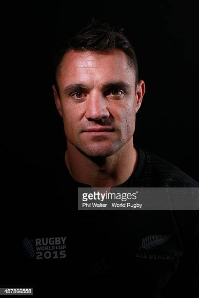 Daniel Carter of the New Zealand All Blacks poses for a portrait during the New Zealand All Blacks Rugby World Cup 2015 squad photo call in London...
