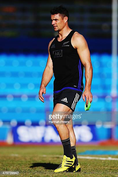 Daniel Carter practises his kicking during a New Zealand All Blacks Captain's Run at Apia Park on July 7 2015 in Apia Samoa