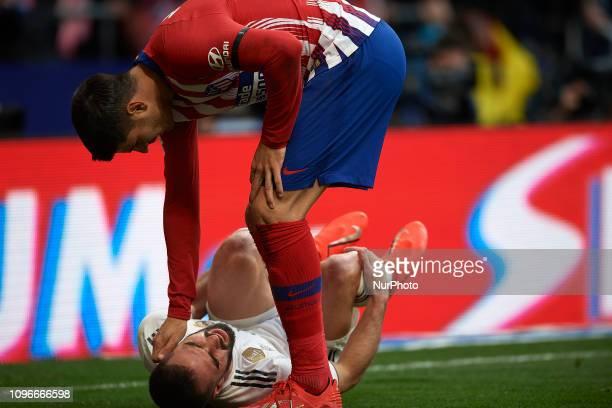 Daniel Carvajal of Real Madrid adn Alvaro Morata of Atletico Madrid during the week 23 of La Liga match between Atletico Madrid and Real Madrid at...