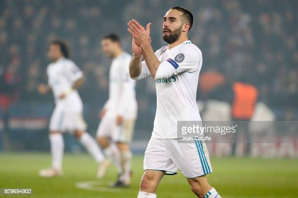 Daniel Carvajal of Real Madrid celebrates the goal of Cristiano Ronaldo during the UEFA Champions League Round of 16 Second Leg match between Paris...