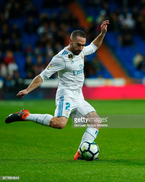 Daniel Carvajal of Real Madrid CF controls the ball during the La Liga match between Real Madrid CF and Getafe CF at Estadio Santiago Bernabeu on...