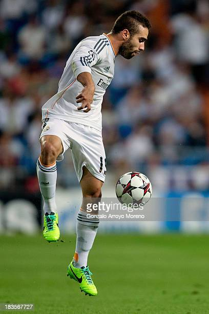 Daniel Carvajal of Real Madrid CF controls the ball during the UEFA Champions League group B match between Real Madrid CF and FC Copenhagen at...
