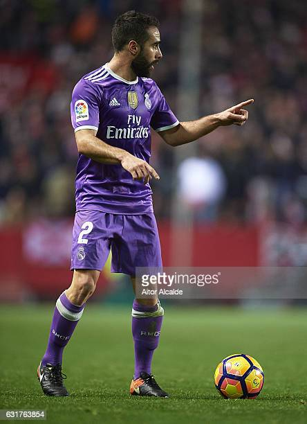 Daniel Carvajal of Real Madrid CF in action during the La Liga match between Sevilla FC and Real Madrid CF at Estadio Ramon Sanchez Pizjuan on...