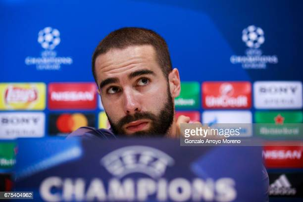Daniel Carvajal of Real Madrid CF leaves the media room after a press conference ahead of the UEFA Champions League Semifinal First leg match between...