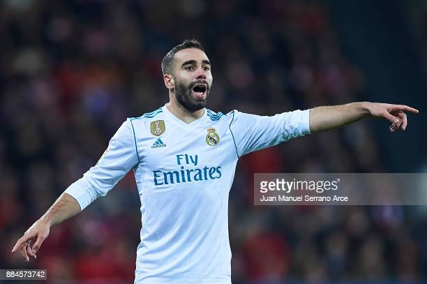 Daniel Carvajal of Real Madrid CF reacts during the La Liga match between Athletic Club and Real Madrid at Estadio de San Mames on December 2 2017 in...
