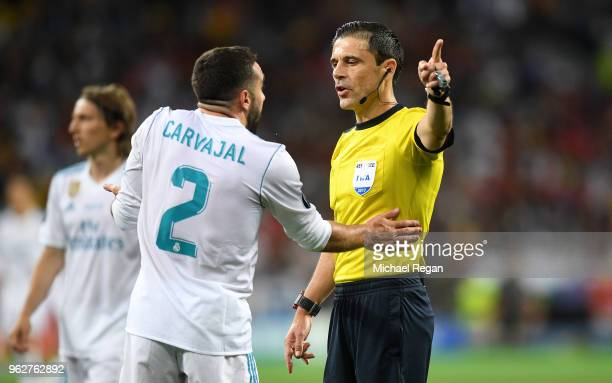 Daniel Carvajal of Real Madrid confronts referee Milorad Mazic during the UEFA Champions League Final between Real Madrid and Liverpool at NSC...