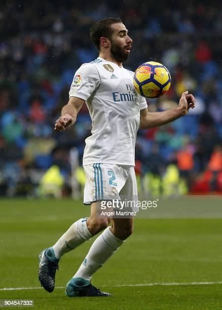 Daniel Carvajal of Real Madrid controls the ball during the La Liga match between Real Madrid and Villarreal at Estadio Santiago Bernabeu on January...