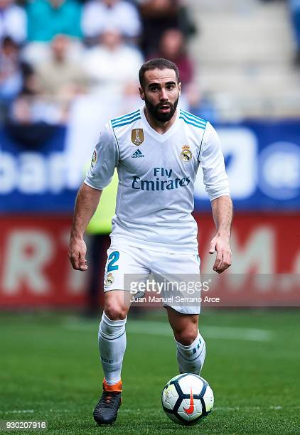 Daniel Carvajal of Real Madrid controls the ball during the La Liga match between SD Eibar and Real Madrid at Ipurua Municipal Stadium on March 10...
