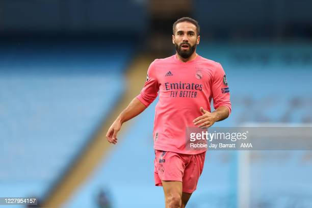 Daniel Carvajal of Real Madrid during the UEFA Champions League round of 16 second leg match between Manchester City and Real Madrid at Etihad...