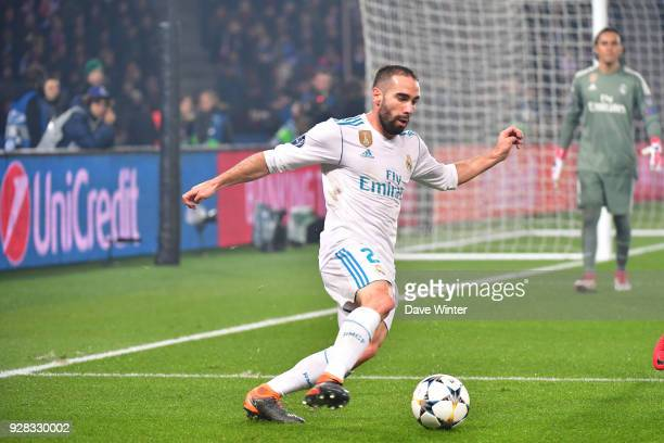 Daniel Carvajal of Real Madrid during the UEFA Champions League Round of 16 second leg match between Paris Saint Germain and Real Madrid at Parc des...