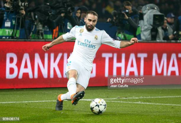 Daniel Carvajal of Real Madrid during the UEFA Champions League Round of 16 Second Leg match between Paris SaintGermain and Real Madrid at Parc des...