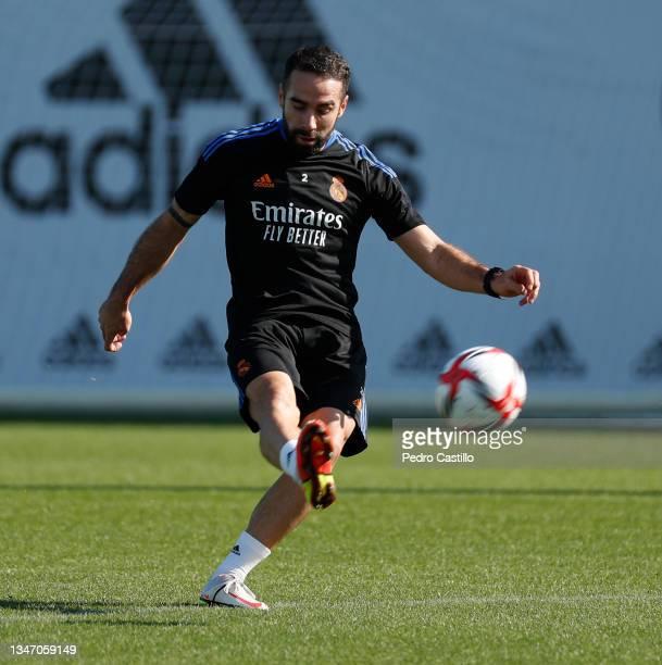 Daniel Carvajal of Real Madrid during training at Valdebebas training ground on October 17, 2021 in Madrid, Spain.
